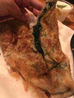 Inside of spinach feta byrek