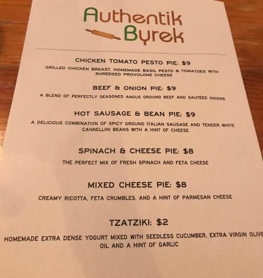 Authentic Byrek menu